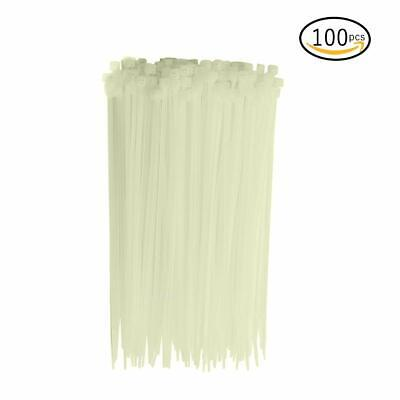 100 White Zip Ties Heavy Duty 50 Lbs Cable Cord Strap Wire Nylon Wrap Bulk