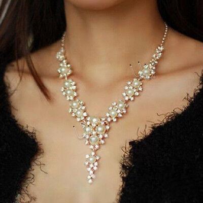 Women Jewelry Pendant Charm Pearl Crystal Statement Choker Chunky Bib Necklace
