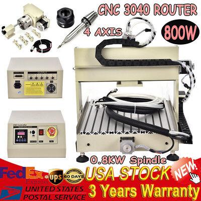 4 Axis Cnc Router 3040 Engraver 800w Ballscrew Desktop Engraving Milling Machine