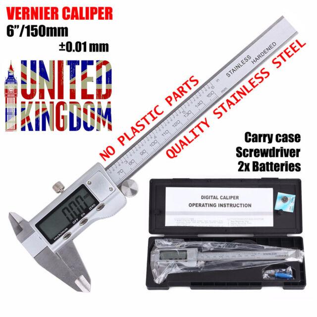 "6""/150mm Digital LCD Gauge Vernier Caliper Micrometer Hardened Stainless Steel"