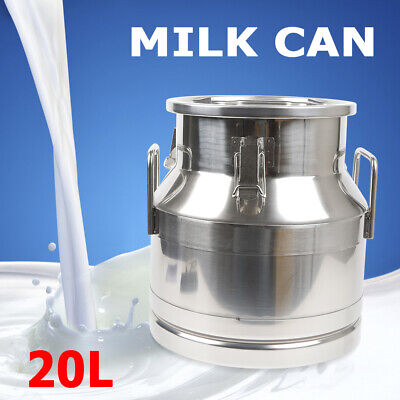 20l5.25 Gallon Milk Bucket Stainless Steel Milk Storage Can Barrel Canister Usa