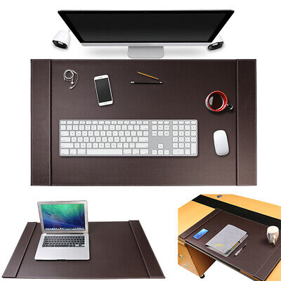Sum Large Vegan Leather Office Desk Pad Mouse Keyboard Laptop Mat W Side Rails