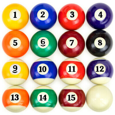 "16 BILLIARD POOL BALLS Buttons Pinbacks Badges 1/"" Set"