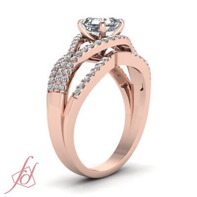 1.1 Ct Asscher Cut Diamond Split Shank Pave Engagement Ring In 14K Rose Gold GIA 2