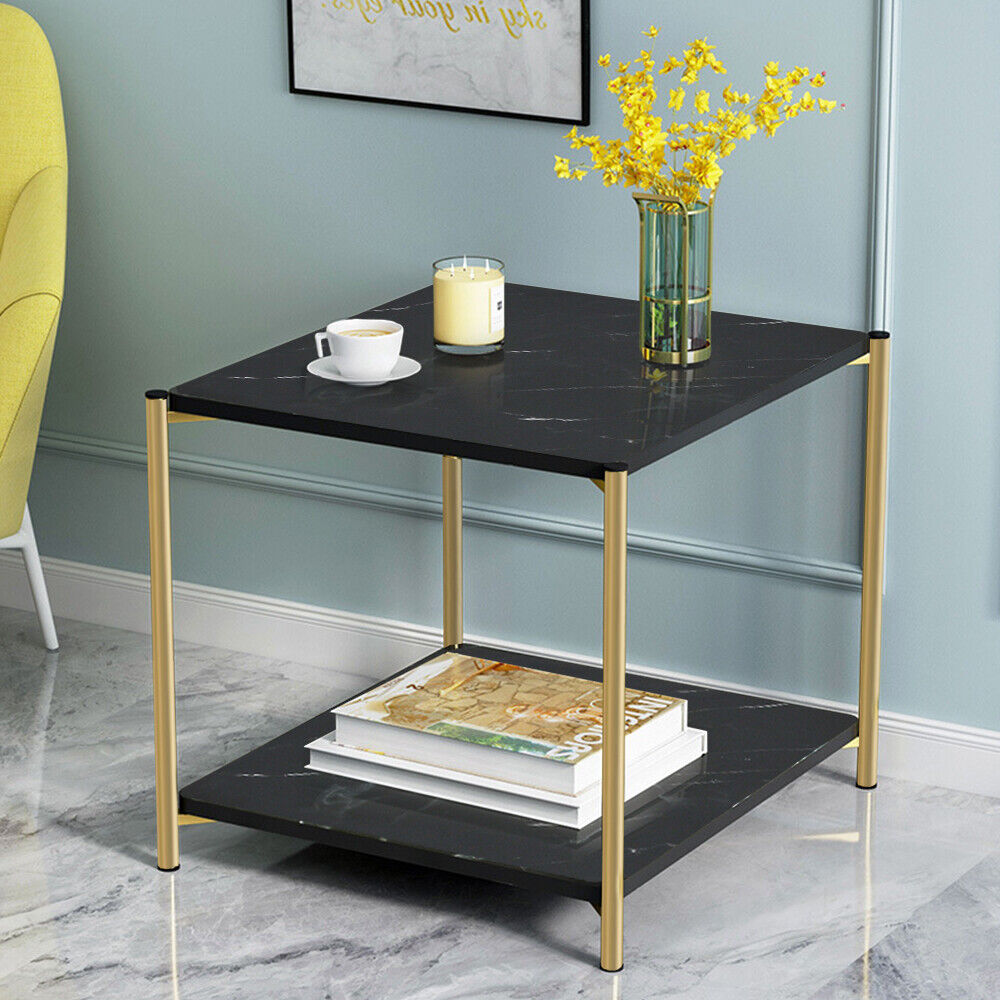 2 Tier Coffee Side Table End Table Chrome Legs Sofa Living Room Black Square New