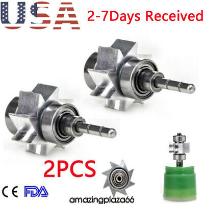 2pcs Dental Cartridge Turbine Rotor Large Head Push Torque High Speed Handpiece