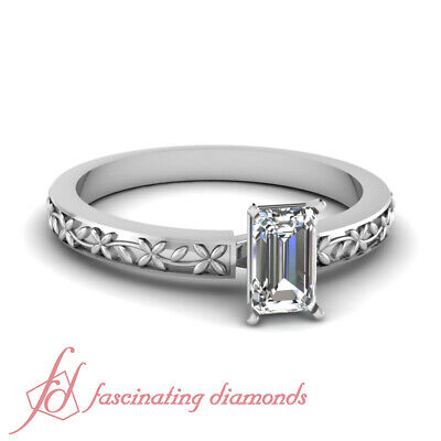 Solitaire Floral Chain Engagement Ring 1/2 CARAT Emerald Cut:Ideal Diamond GIA