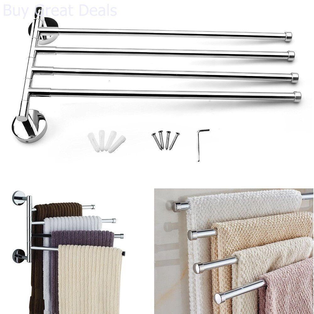 Towel Bar Rack Holder Wall Hanger Swivel Bathroom 4 Swing Arm Stainless Steel
