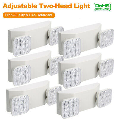 Lot Led Emergency Exit Light Battery Backup Adjustable Two Head 1800mah Battery