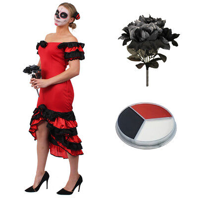 LADIES RED RUMBA DRESS DAY OF THE DEAD COSTUME SPANISH HALLOWEEN FANCY DRESS