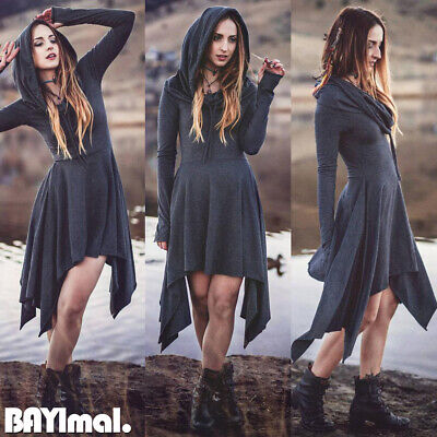 Women Hooded Plain Long Sleeve Mini Dress Ladies Vintage Medieval Gothic Costume