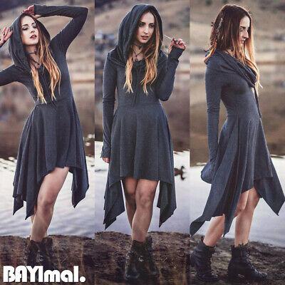 Women Hooded Plain Long Sleeve Mini Dress Ladies Vintage Medieval Gothic Costume