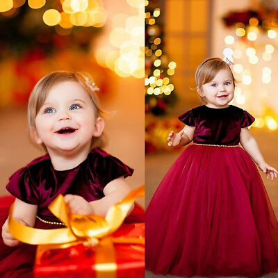 US Flower Girls Dress Princess Kids Baby Christmas Party Velvet Tulle Tutu Dress