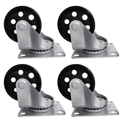 4pcs 3.5 Heavy Duty Steel Plate Cast Iron Casters Swivel Metal Industrial Wheel