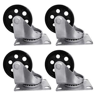 4pcs 3.5 Heavy Duty Steel Plate Cast Iron Casters Swivel Metal Industrial Wheel