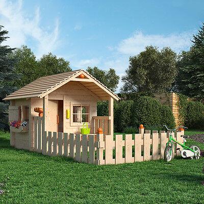 COLIN CASTLE Spielhaus Kinderspielhaus Holz Haus mit Terrasse und Vorgarten