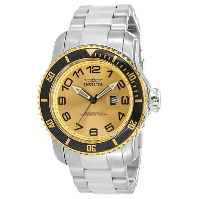 Invicta Pro Diver 15074 Men's Round Gold Tone Analog Date Stainless Steel Watch