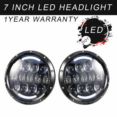 2x 7Inch Top BEST LED Headlight Angel Eye Halo Amber DRL for Jeep Wrangler JK