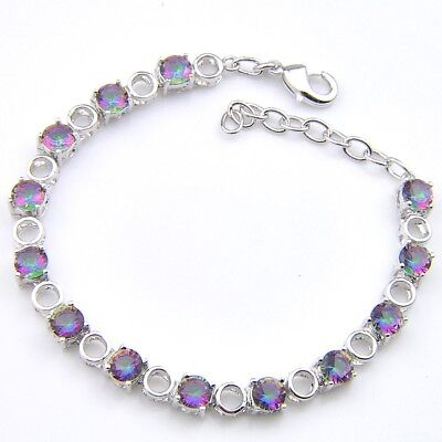 - Special Design Handmade Natural Rainbow Colored Fire Topaz Silver Charm Bracelet