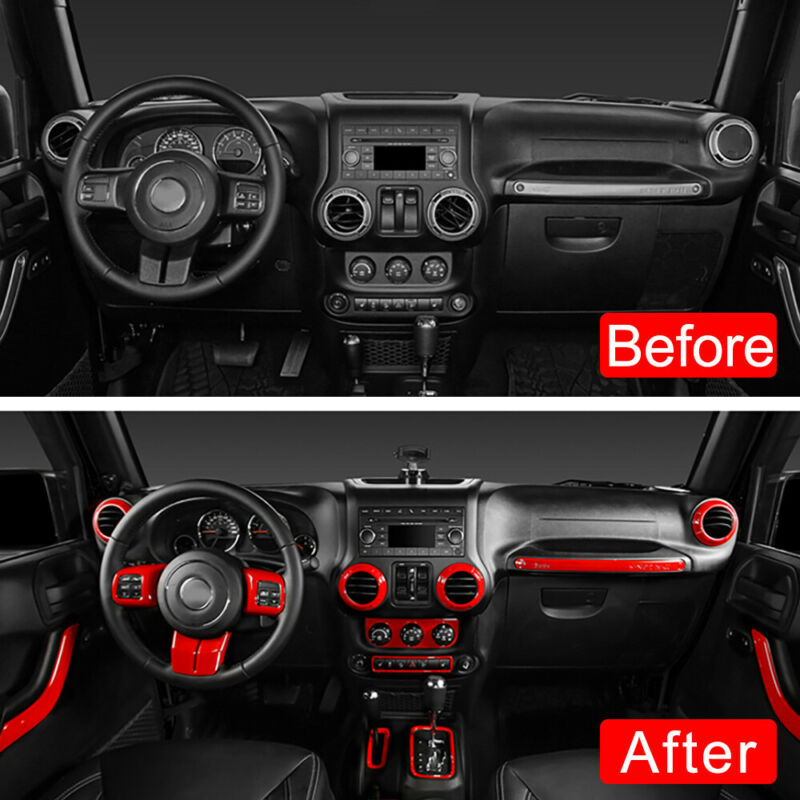 Nicebee 18pcs//Set ABS Car Interior Mouldings Decoration Kit Trim Cover for 4 Door Jeep Wrangler JK 2011-2017 Blue