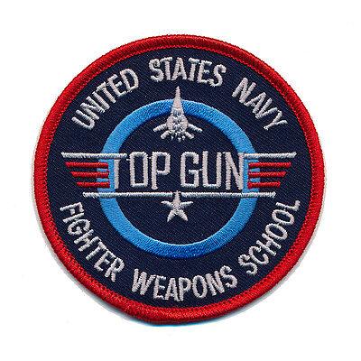 USA TOP GUN Navy Fighter Weapon School 45 mm US Patch Aufnäher Aufbügler 0502 A