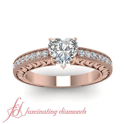 Vintage Inspired Engagement Rings For Women With Heart Shape Diamond GIA 0.85 Ct 1