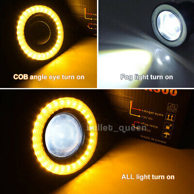 3INCH Angel Eyes Halo Ring DRL Lamp COB LED Fog Light Projector Car Yellow 3200L Angel Eyes Car