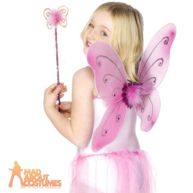 Child Butterfly Wings & Wand Pink Fairy Princess Girls Fancy Dress Accessory New