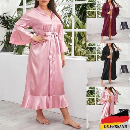 Übergröße Damen Morgenmantel Kimono Bademantel Dessous Negligee Nachtwäsche DE