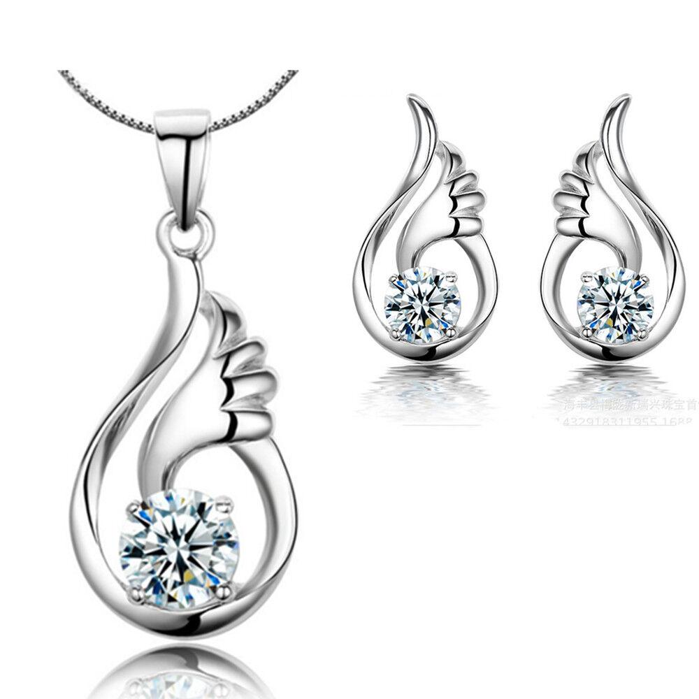 Jewellery - Angel Wing Pendant Necklace 925 Sterling Silver Stud Earrings Womens Jewellery