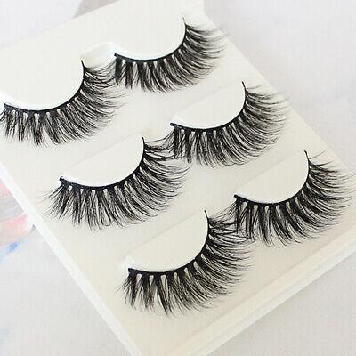 3 Pair Fashion 3D Fake Eyelashes Long Thick Natural False Eye Lashes Mink Makeup