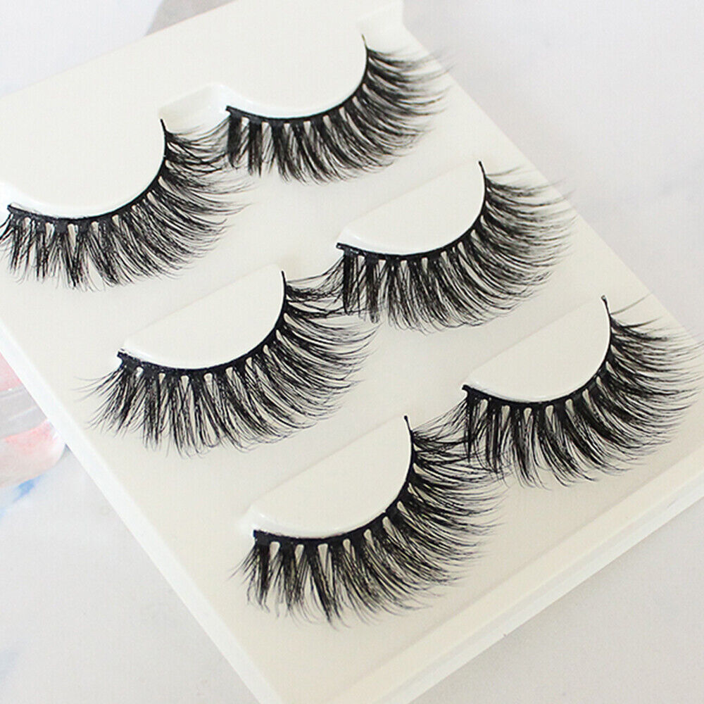 3 Pair Fashion 3D Fake Eyelashes Long Thick Natural False Eye Lashes Mink Makeup Eyes