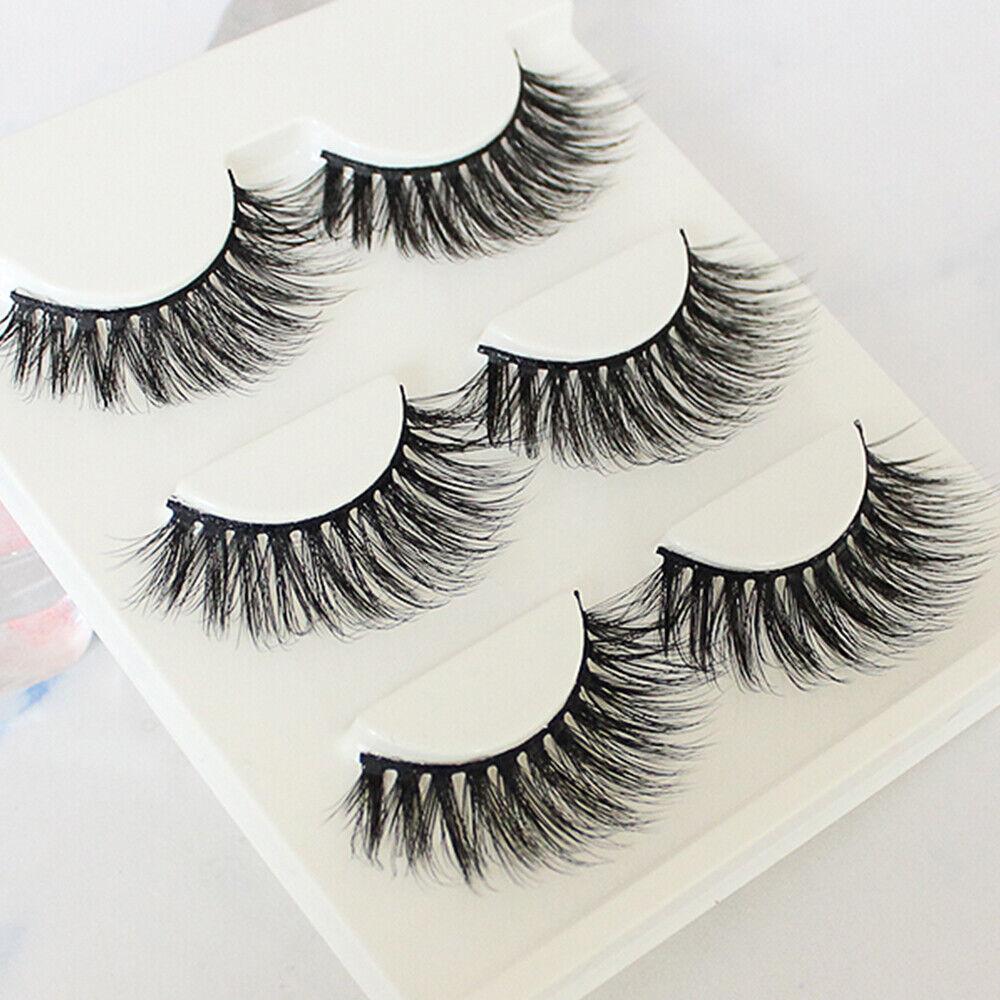 3 Pair Fashion 3D Fake Eyelashes Long Thick Natural False Ey