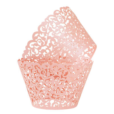 Lace Cupcake Liners (50/100 Cupcake Wrapper Bake Cake Paper Cup Vine Lace Laser Cut Liner Muffin)