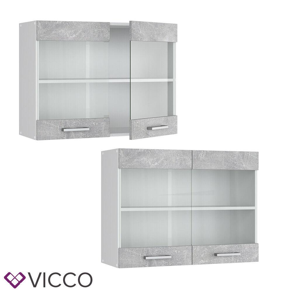 VICCO Küchenschrank Hängeschrank Unterschrank Küchenzeile R-Line Hängeglasschrank 80 cm beton