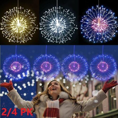 2PK Firework LED String Lights 120LED Copper Wire Strip Fairy Light with Remote Home & Garden