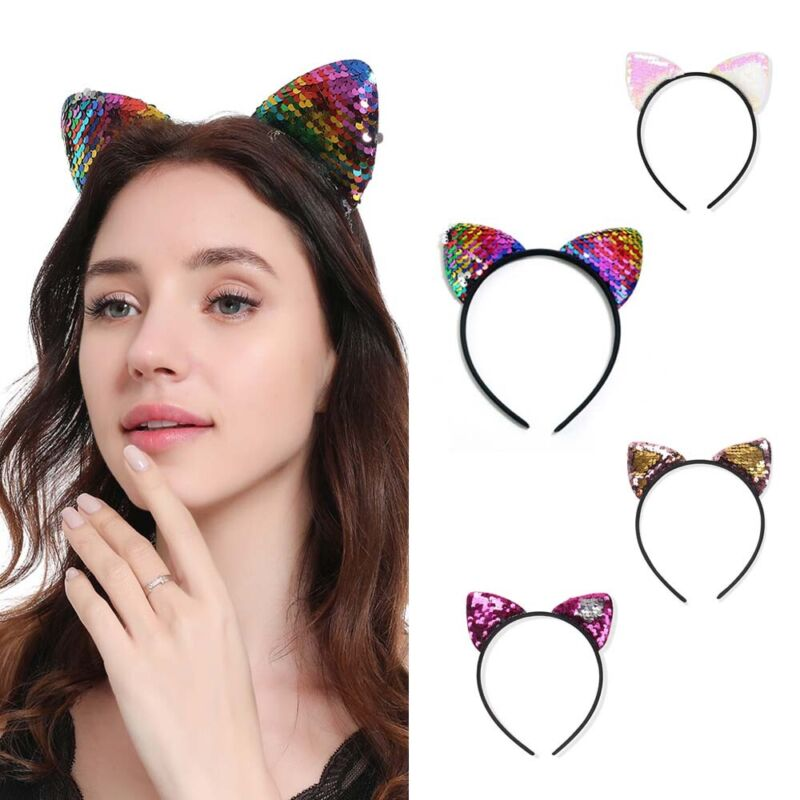 Fashion Sequins Girls Cute Cat Hairband Headband Hair Hoop Band Accessories HOT