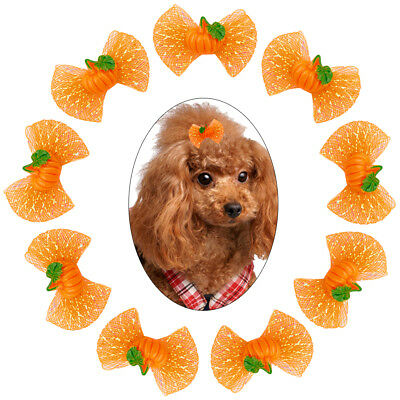 20/100pcs Halloween Dog Hair Bows wth Rubber Bands Pumpkin Grooming for Pet Cat