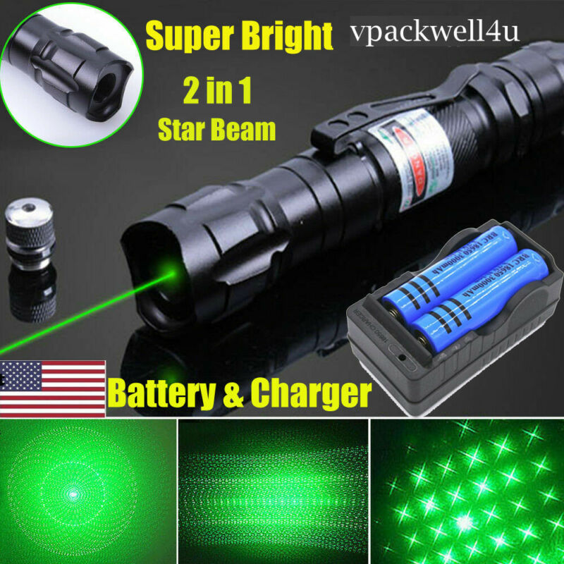 990 Miles Green Laser Pointer Star Beam 1 mW Rechargeable Lazer+Battery+Charger