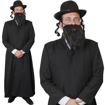 MENS RABBI COSTUME LONG COAT HAT WITH SIDEBURNS BEARD JEWISH FANCY DRESS OUTFIT](Jewish Costume)