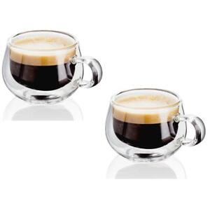 Judge Hand Crafted Double Walled Set of 2 75ml Glass Espresso Coffee Cup
