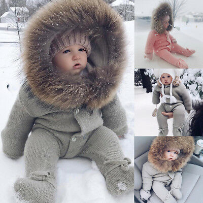 Winter Warm Newborn Baby Boy Girl Knit Hooded Romper Jumpsuit Outfits Clothes AB