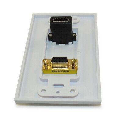 Wall plate: HDMI & VGA Female/Female 1 Port  Gold Plated  White 1 Port White Wall Plate