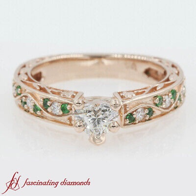 3/4 Carat Heart Shaped Diamond And Emerald Vintage Filigree Pave Engagement Ring