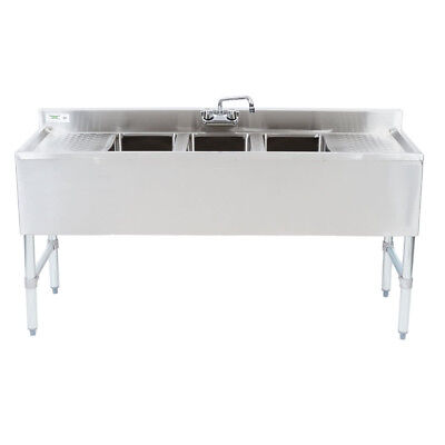 60 Stainless Steel 3 Compartment Commercial Underbar Sink With 2 Drainboards