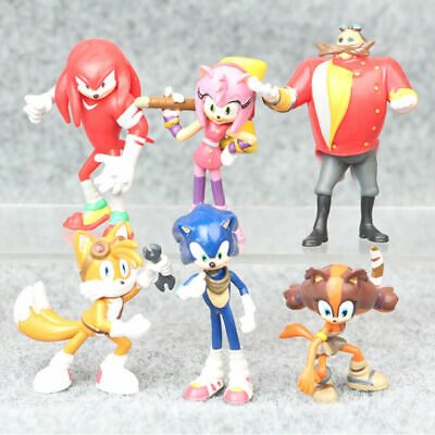6 PCS Sonic The Hedgehog Knuckles Tails Action Figure Cake Topper Kids Gift Toy  - Sonic The Hedgehog Tail