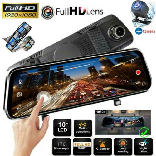 10″ HD 1080P Dual Lens Car DVR Dash Cam Video Camera Recorder Rearview Mirror US Consumer Electronics