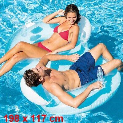 Colchoneta Hinchable intex doble 198x117 cm,posavasos,hasta 200kg,piscina,parche