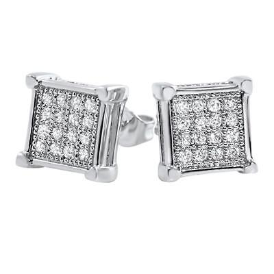 Hip Hop Clean Box Rhodium CZ Bling Bling Earrings Iced Out Ear Jewelry