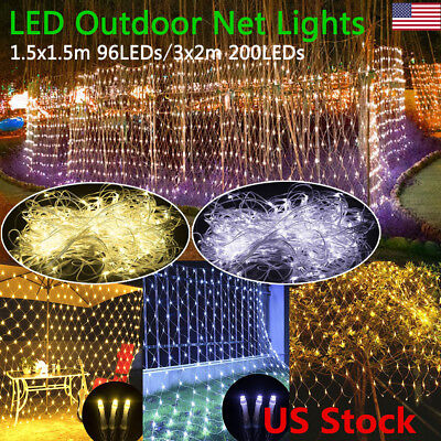Outdoor Party Decoration (96/200Led Net Mesh LED Lights String Outdoor Party Decoration Xmas US Plug)